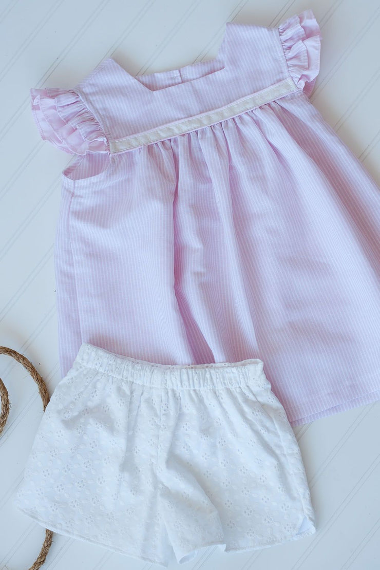 Double Flutter Ribbon Top in Pink Stripe Linen with White Beach Trim