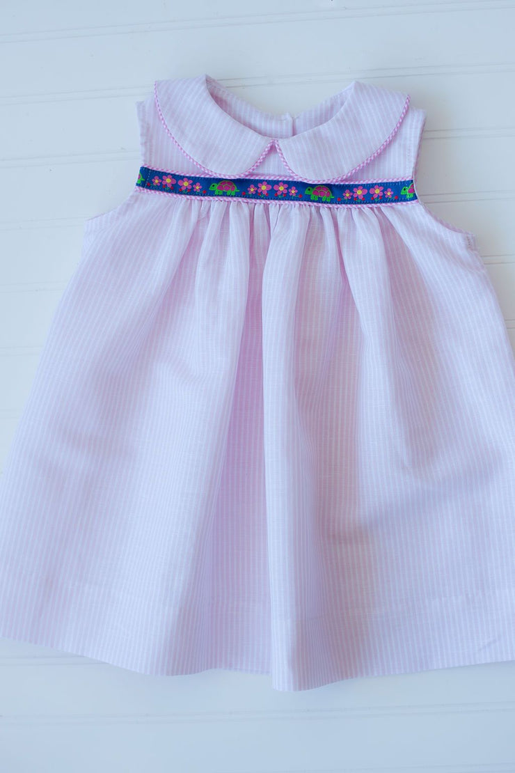 Libby Ribbon Dress in Pink Stripe Linen with Turtle Trim