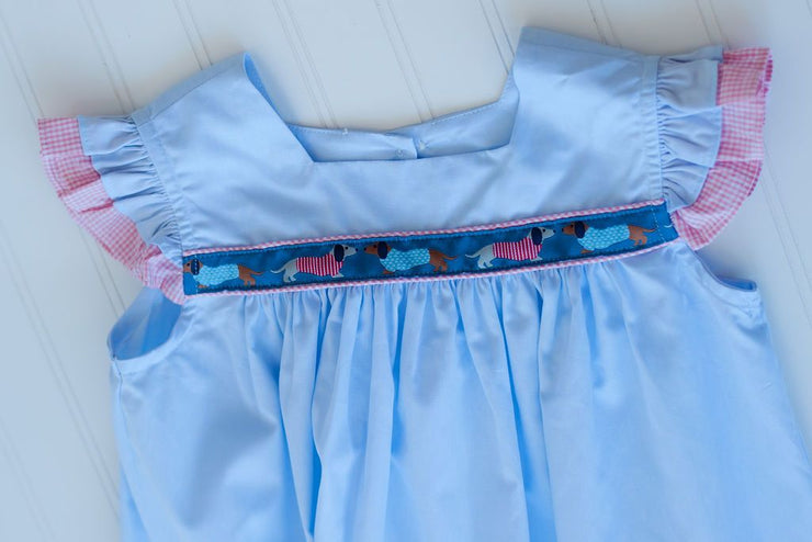 Double Flutter Ribbon Dress in Blue Superfine Twill with Dachshund Trim