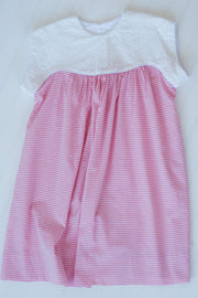 Lucy Dress (without collar) in Pink Stripe with White Eyelet ***PLEASE NOTE FABRIC CHANGE***
