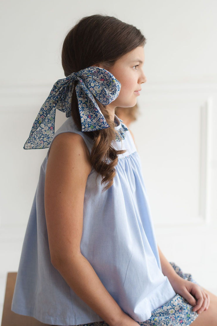 Samantha Top in Blue Chambray with July Fields Liberty