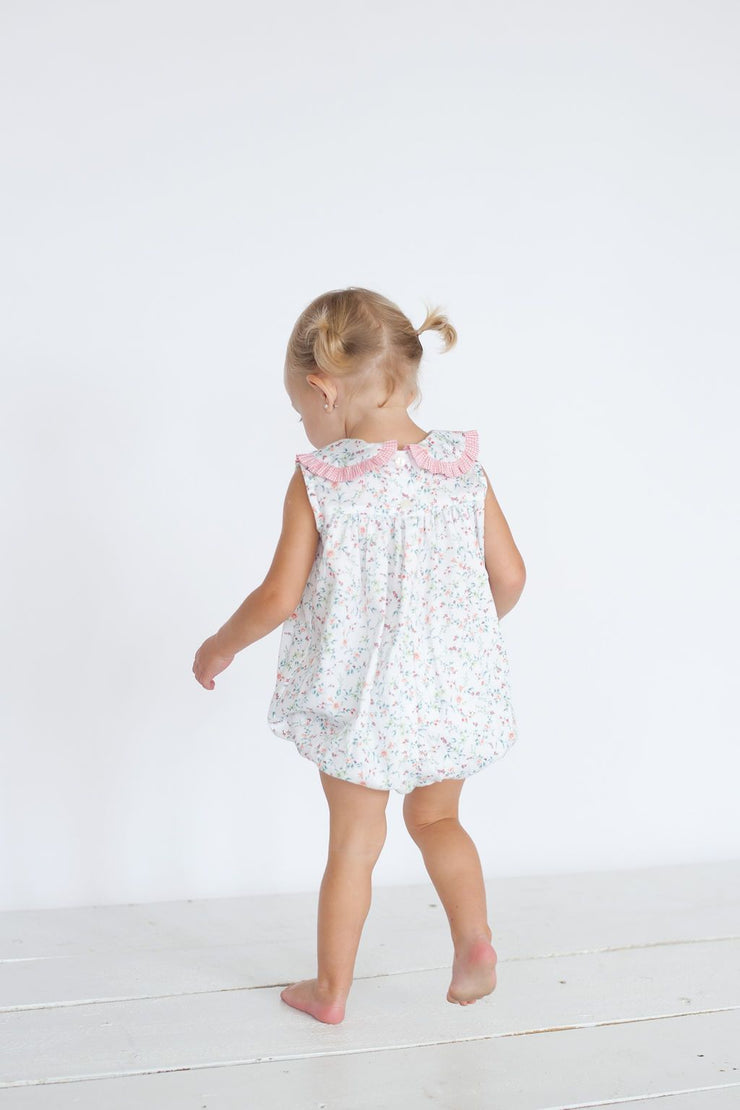 Hattie Bubble in Garden Floral with Coral Gingham