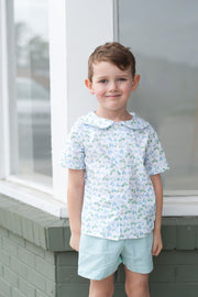 Boy Plain Short in Kelly Stripe Seersucker