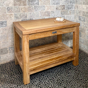 "24"" Shower bench with shelf"