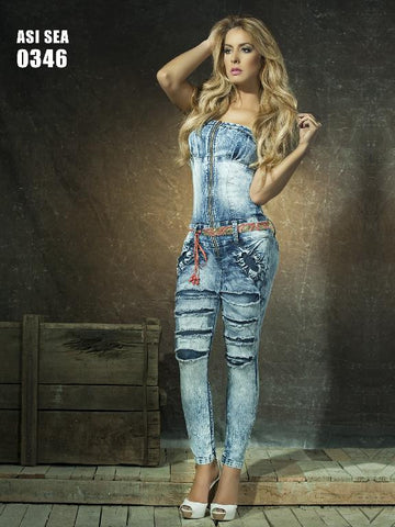 Strapless  Distressed  Levantacola Denim  Jumpsuit