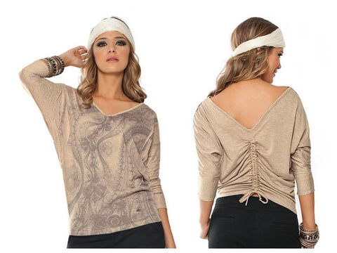 Blouse Constancia 1/4 Sleeve V-neck Color Taupe