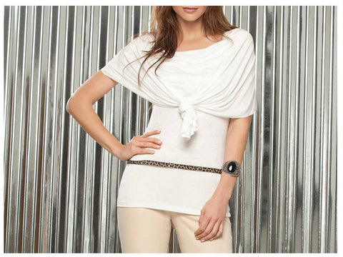 Beige Escarlata Draped Short Sleeves Blouse