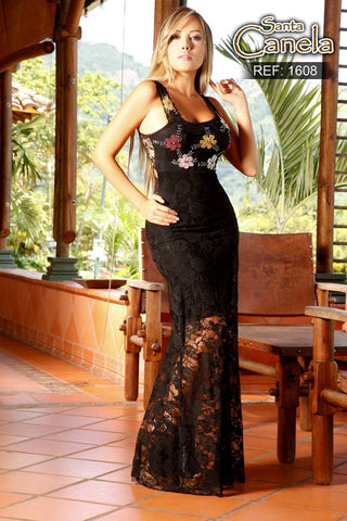 Black Evening Long Lace Dress with Handmade  Floral Application