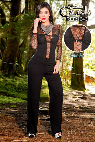 Lace Detailed  Strapless Elegant Plain Jumpsuit Set