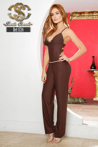 Brown Casual Sleeveless BACKLESS  Jumpsuit