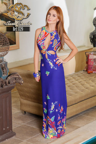 Blue Back and Front Detail Printed Long Dress