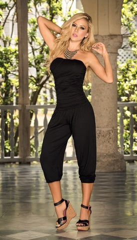 Ruched Strapless   Capri Jumpsuit