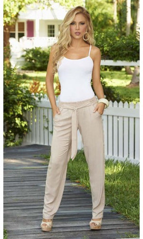 Tapered  Leg  Tie  Waistband Casual  Pant