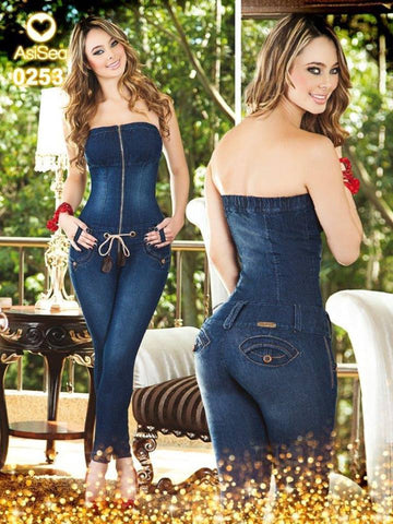 Dark Blue Strapless Butt Lift Levantacola Jumpsuit  Colombiano