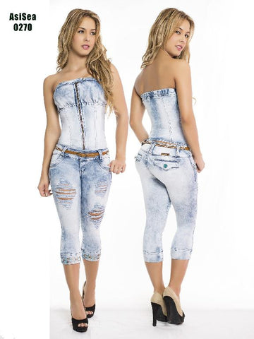 Light Wash Strapless Blouse  and  Distressed Capri Pants Set