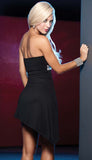 Black Salsa ASYMMETRICAL Strapless  Sequin Hot Dress