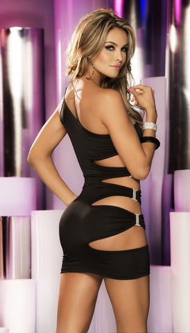 Black  Ultra Sexy One Shoulder Clubwear  Party  Mini Dress