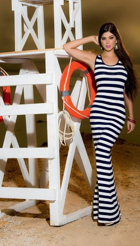 Nautical  Blue and White Striped Maxi Dress with Open Back