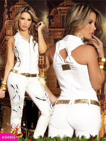 Light Wash White Bullfighting  Jumpsuit Colombiano