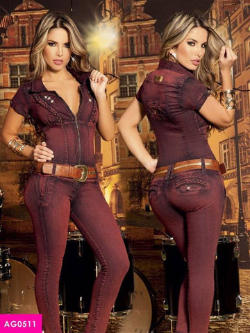 Zip Short Sleeve Burgundy  Jumpsuit Butt-lifting