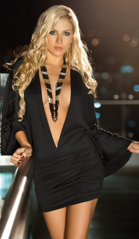 Black Ultra Plunging V Shirred Little Dress