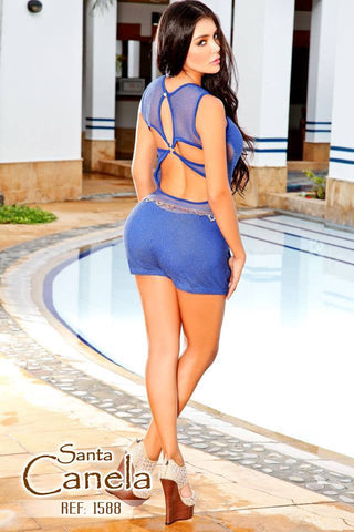 Metallic Detailed  Royal Blue Open Back  Romper