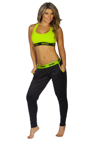Lemon Green Neon Detail Yoga Fitness Activewear Pants