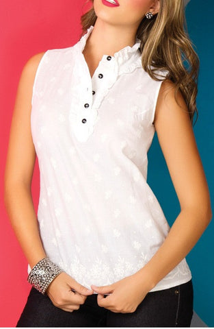 Casual White Sleveless  Charling Blouse