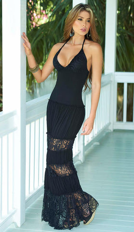 Black Halter Long Maxi Dress with Embroidery