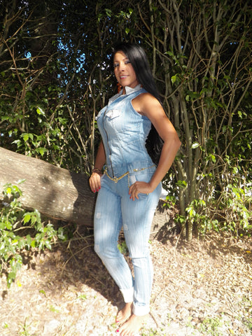 Mahel Light Blue Denim Levantacola Jumpsuit