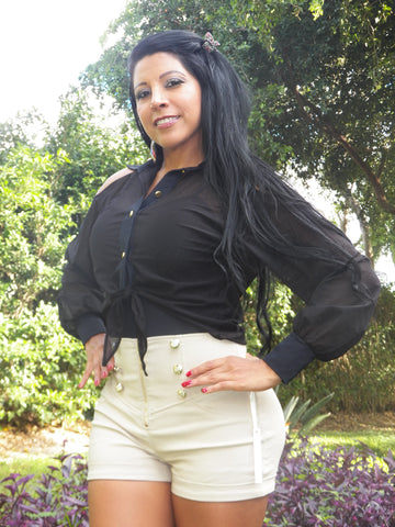 SLIMMING  Black Blouse & Bodysuit  Tummy Control