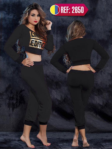 Black with Gold Detail  Super Sexy Long sleeves Blouse and Pants Set