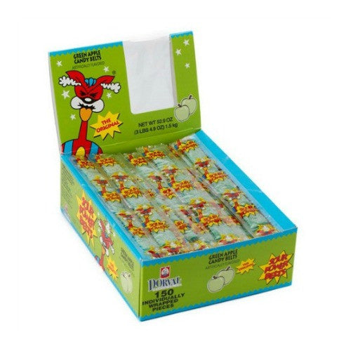 Sour Power Belts Green Apple Wrapped (150 ct)