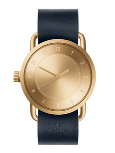 TID Watches - No.1 Gold / Navy Leather Wristband  Ø40
