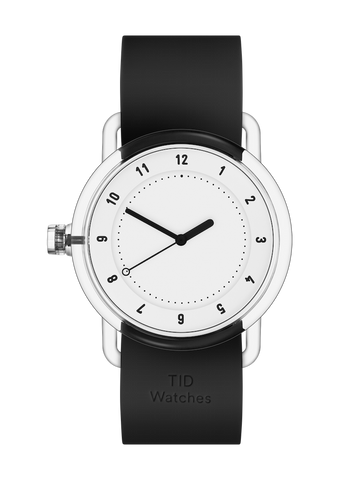 TID Watches - No.3 TR90 White / Black Silicone Wristband  Ø38