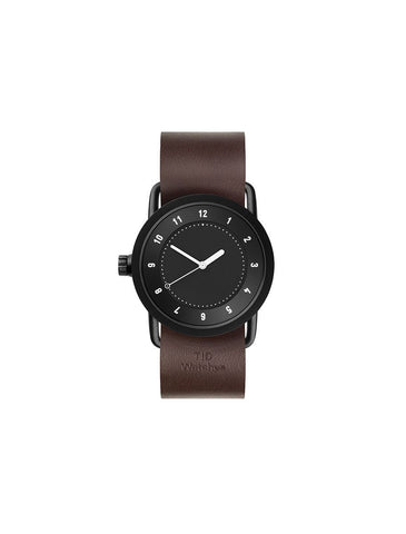 TID Watches - No.1 36 Black / Walnut Leather Wristband