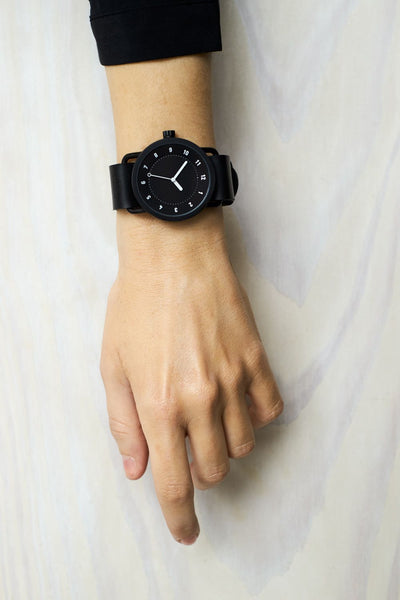 TID Watches - No.1 Black / Black Leather Wristband