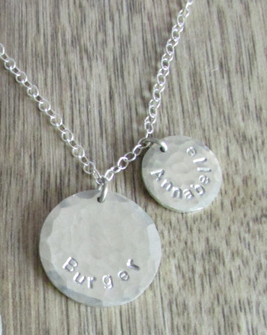 Rustic disc necklace with handstamped names