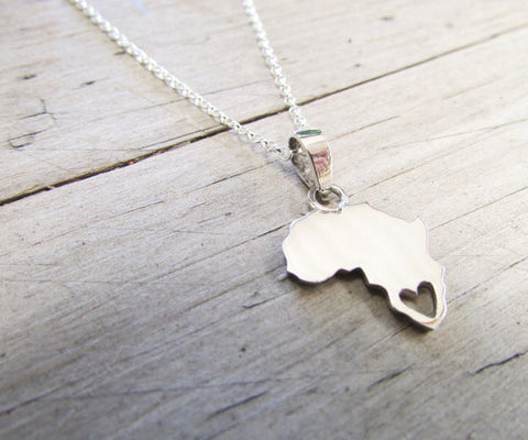 Africa necklace with heart