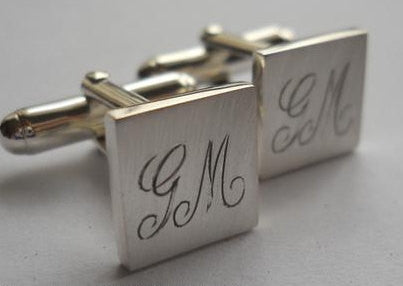Square cufflinks with engraved initials