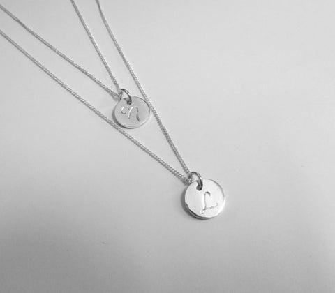 Two necklaces in one - engraved initials