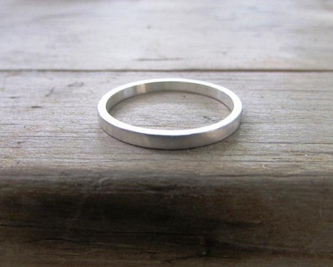 Dainty narrow silver band