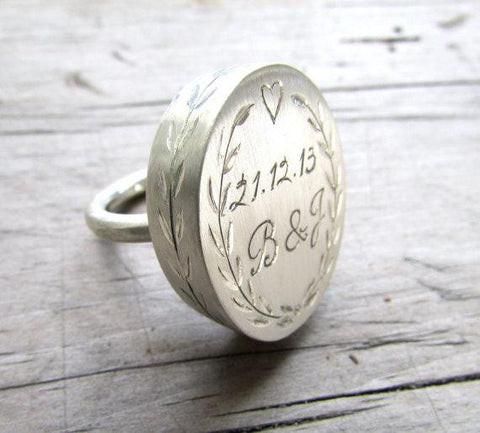 Personalized engraved statement ring