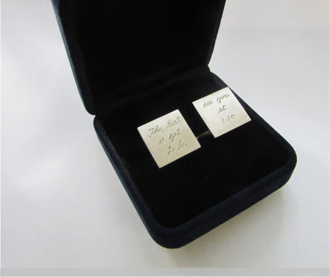 Cufflinks engraved with message