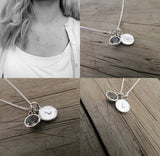 Initial necklace with white topaz