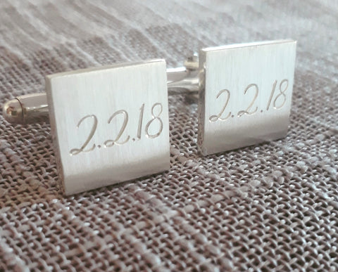 Square sterling silver cufflinks with wedding date or special date engraved