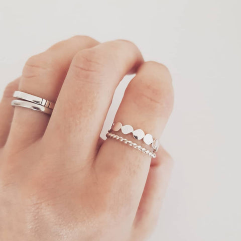 Pebble ring & twisted ring set