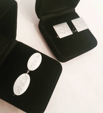 Oval cufflinks with initials & date
