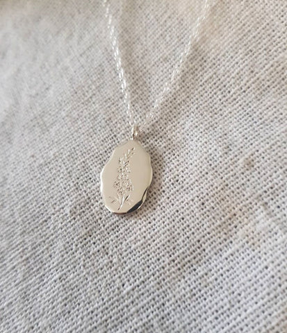 Engraved wildflower necklace