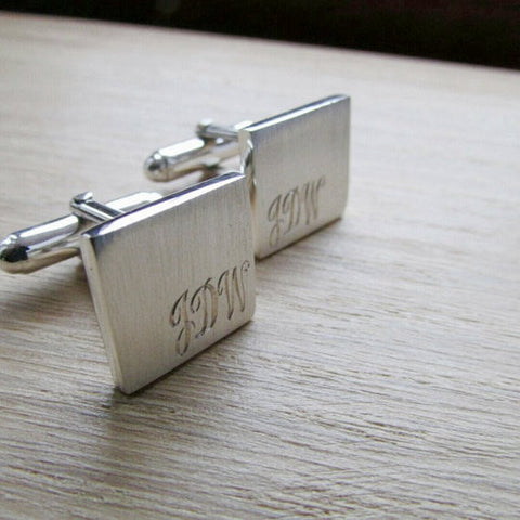 Square cufflinks with initials engraved in corners